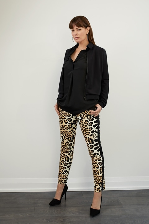 SPRING 2020 SHAN Black Tunic Blouse and Cheetah Cigarette Pant