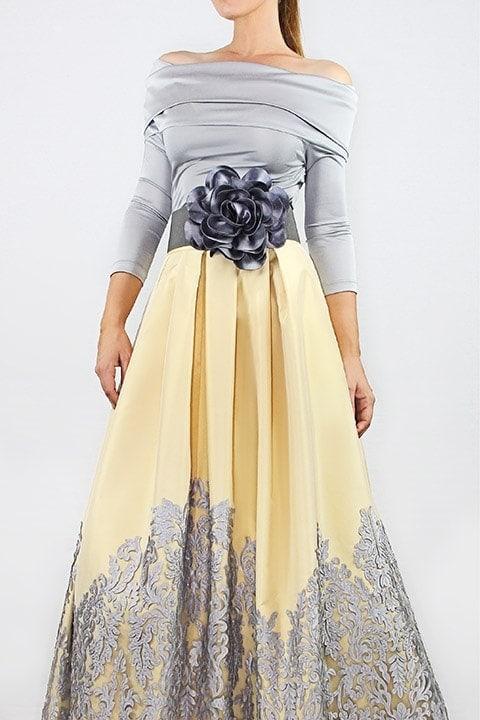 Silver Italian Jersey TopButter Silk Taffeta & Lace Ballgown Skirt