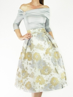 Silver Off Shoulder Jersey Top, Floral Jaquard Full Pleated Skirt