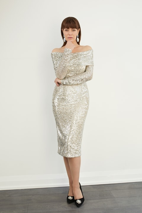 Silver Raindrop Sequin Off-Shoulder Sheath Dress