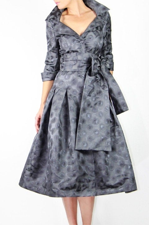 Steel Gray Brocade Dior Dress
