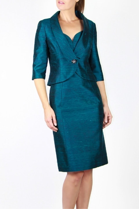 Teal Pleated Silk Short Jacket, Slim Sheath Dress