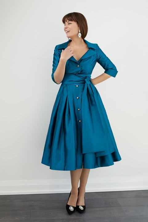 Teal Royal Taffeta Dior Dress