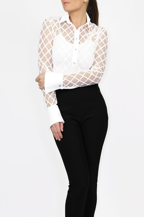 White Window Pane French Cuff Blouse and Black Tech Stretch Cigarette Pant