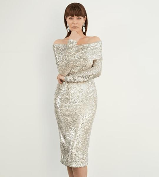 Silver Raindrop Sequin Off-Shoulder Sheath Dress