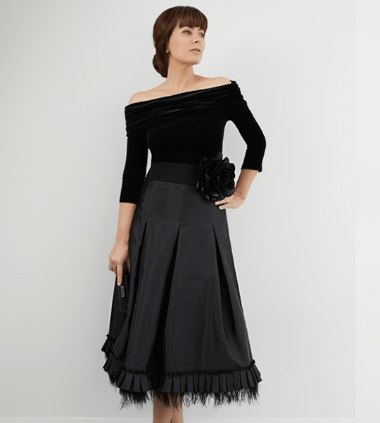 Black Taffeta Retro Skirt with Pleat and Ostrich Feather Trim & Velvet Off-Shoulder Top