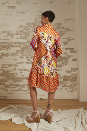 Allegra Patchwork Print A-Line Shirt Dress