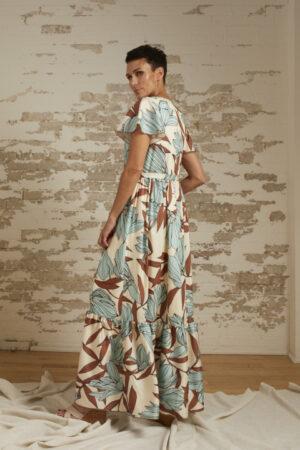 Kennedy Aqua Floral Print Maxi Dress