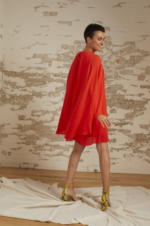 Alexa Poppy Georgette Crepe Cape Sleeve Dress