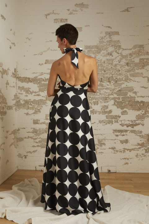 Lauren Black/White Dot Halter Gown