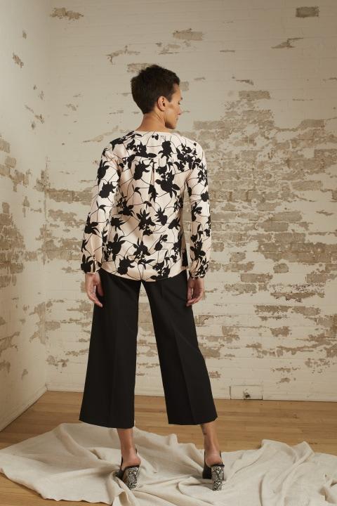 Brynn Blush/Black Print Blouse