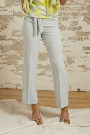 Kira Dove Grey Belted Crepe Straight Leg Pant