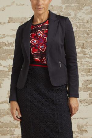 Daphne Navy Ponte Knit Classic Blazer