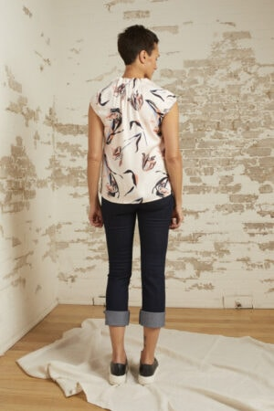 Ava Blush Print Cap Sleeve Top
