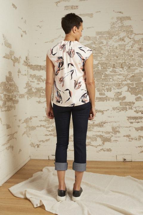 Ava Blush Print Cap Sleeve Top