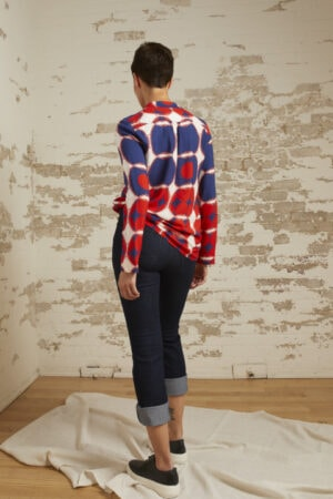 Marlee Navy/Red/Ecru Geometric Print Top