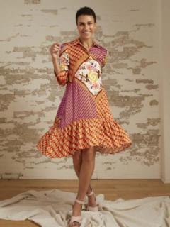 Allegra Patchwork Print A-Line Shirt Dress