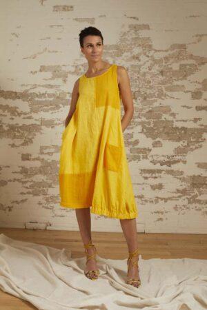 Delilah Lemon Linen/Cotton A-Line Dress