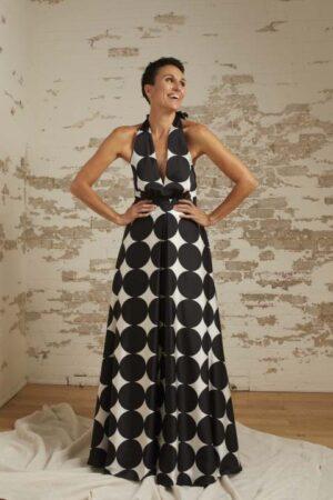 Lauren Black/White Dot Halter Gown