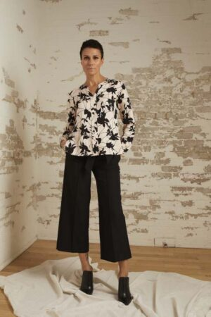 Brynn Blush/Black Print Blouse and Ariella Cropped Wide Leg Pant