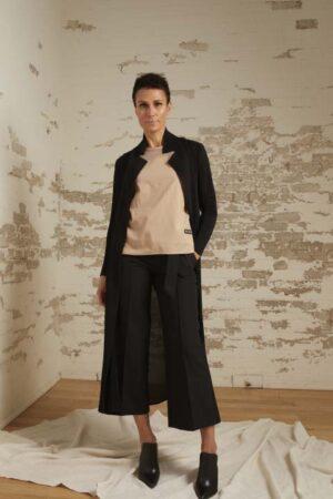 Talia Black Pleated Maxi Cardigan, Amira Sand Short Sleeve Top and Ariella Cropped Wide Leg Pant