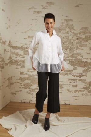 Phoebe White Linen/Organza Flounce Shirt and Ariella Cropped Wide Leg Pant