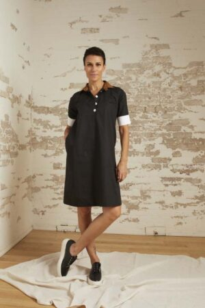 Aspen Black Cotton Poplin Chemise Dress