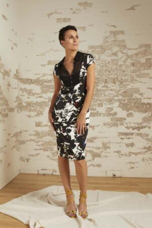 Bianca Abstract Floral Jersey Sheath Dress