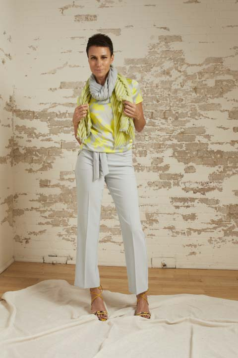 Veronica Lemon/Dove Short Sleeve Top, Kira Dove Grey Belted Crepe Straight Leg Pant and Jennifer Pleated Shawl