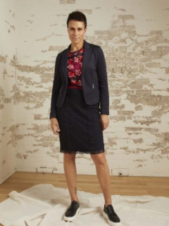 Daphne Navy Ponte Knit Classic Blazer, Harlow Navy Stretch Lace Pencil Skirt and Kelsey Red/Navy Print Top