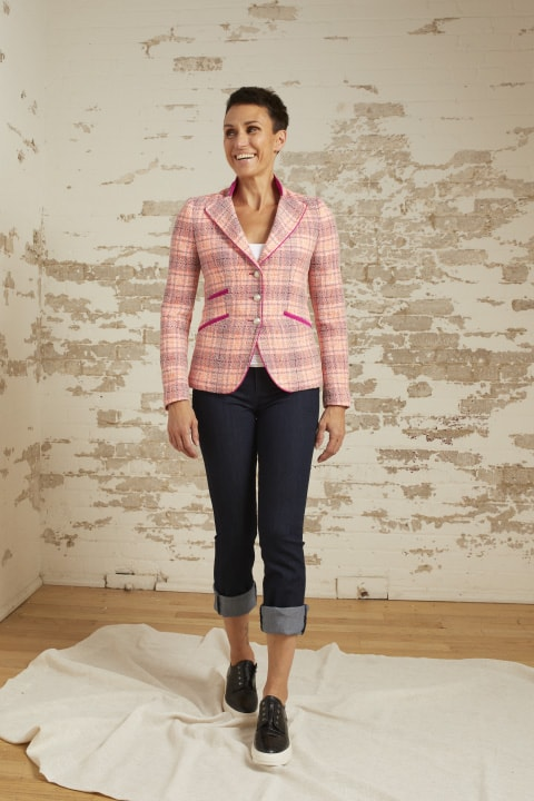 Sierra Pink/Salmon/Navy Tweed 3 Button Riding Jacket