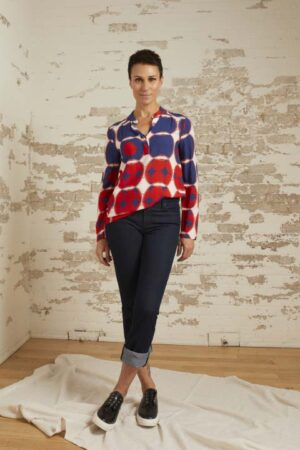 Marlee Navy/Red/Ecru Geometric Print Top and Tatum Straight Leg Jeans