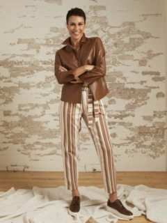 Addison Toffee Leather Shirt Jacket and Zoey Stripe Pant