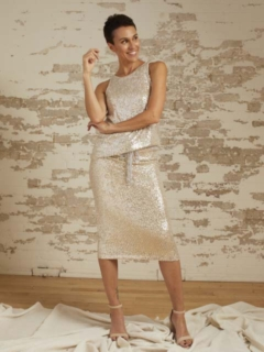 Savannah Oyster Baby Sequin Tank and Stella Oyster Baby Sequin Skirt
