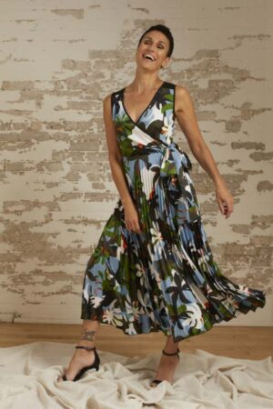 Bella Tropical Print Pleated Wrap Dress