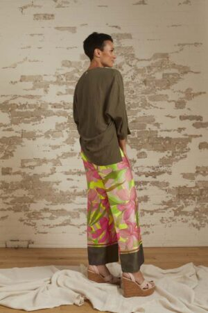 Lucy Relaxed Pullover and Isabella Tropical Print Palazzo Pant