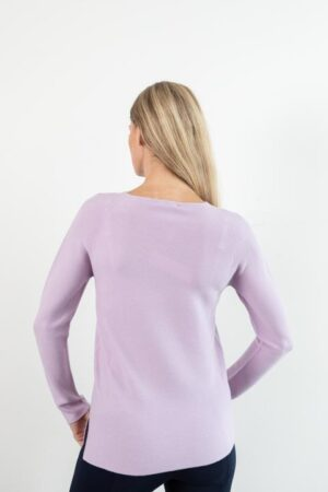 Brie Lavender Extra Fine Merino Wool Jewel Neck Sweater