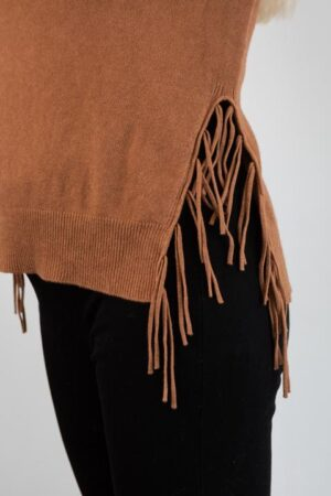 COSY Round Neck Sweater with Fringe