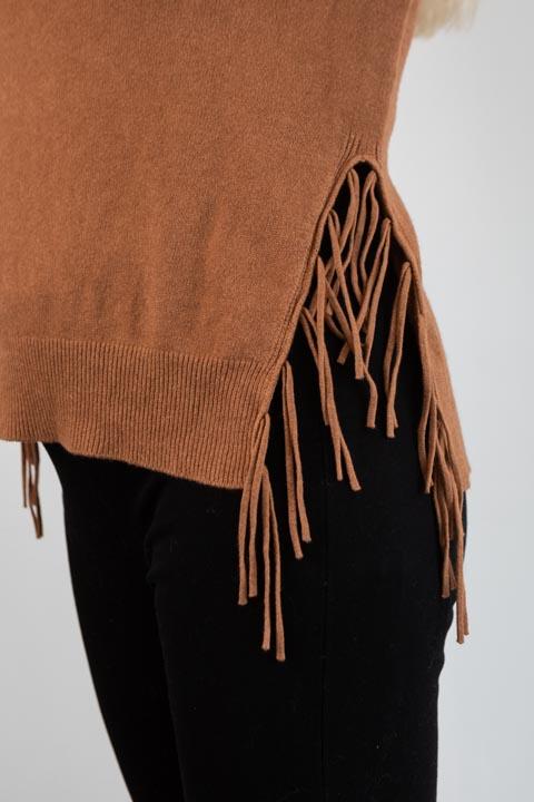 COSY Round Neck Sweater with Fringe