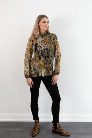 CRISTINA Mock Neck Plissé Blouse Multi Print