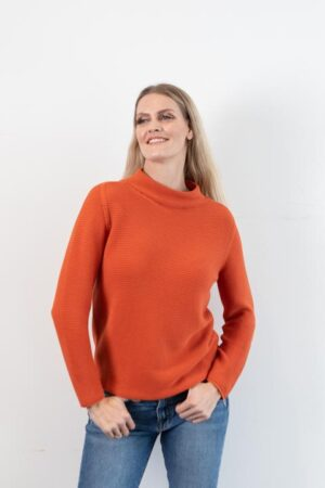 Ginger Mock Neck Sweater in Saffron