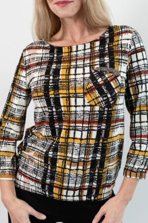 KARLI Abstract Houndstooth Multi Print Top