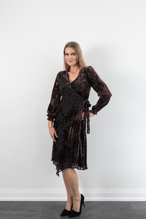 Lauren Burnout Velvet Chocolate Wrap Dress