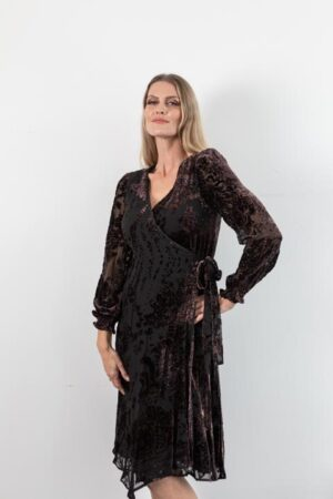 Lauren Burnout Velvet Chocolate Wrap Dress