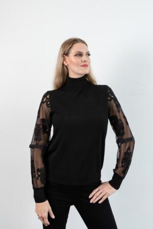 PARIS Black Turtleneck Knit/Lace Sweater