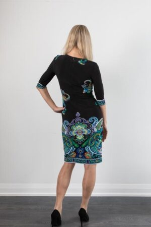 Ross Mayer 3/4 Sleeve Essential Dress in Black/Turquoise Multi Print