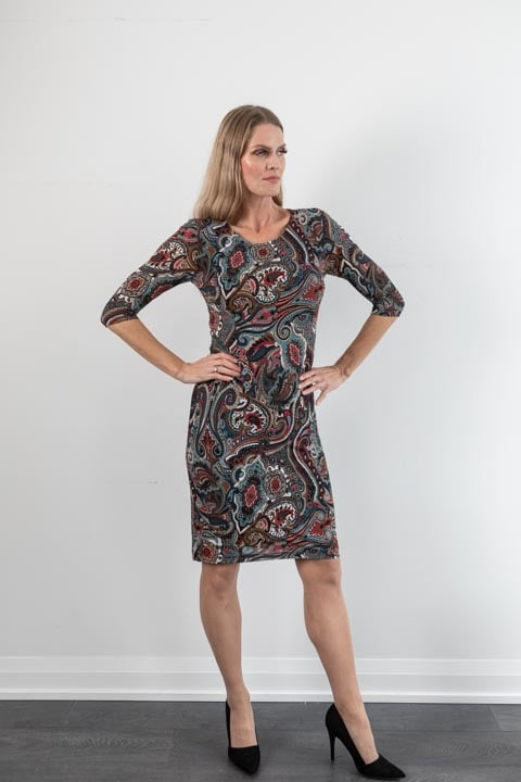 Ross Mayer 3/4 Sleeve Essential Dress in Chocolate/Teal Multi Print