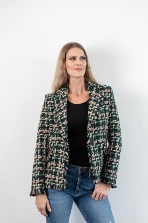 Tamara Green/Black/Ecru Tweed Blazer