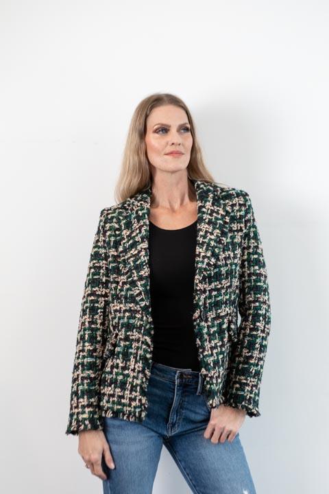 Tamara Green/Black/Ecru Tweed Blazer