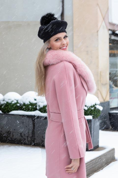 VALERIE Wool Wrap Coat + Fur Collar